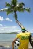 De Voetbalster van Brazilië 2014 op Nordeste-Strand Stock Foto's