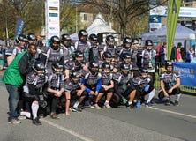De Voetbalteam van Hanover Spartans het Amerikaanse stellen bij de Marathon van Hanover Stock Afbeelding