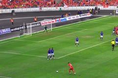 De voetbalteam van Maleisië en van Liverpool Stock Afbeeldingen