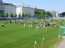 De voetbaltoernooien van Helsinki Stock Foto's