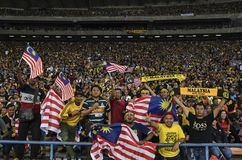 De Voetbalventilators van Maleisië stock afbeeldingen