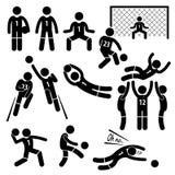 De Voetbalvoetbal Cliparts van keeperacties Stock Fotografie
