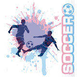 De voetbalwedstrijd, schopt een bal, samenstellings grunge stijl Royalty-vrije Stock Afbeeldingen