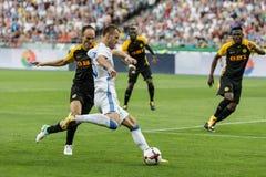 """De voetbalwedstrijddynamo Kyiv †""""Young Boys, Juli van de kampioenenliga Stock Afbeelding"""