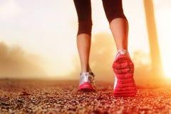 De voeten van de atleet op weg Stock Fotografie