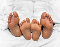 De voeten van de moeder en van het kind in het kader van de bladen Stock Foto