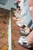 De voeten van vrouwen in opgedirkte schoenen Stock Foto's