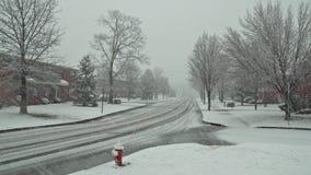 De voetgangers en het verkeer bewegen zich onderaan de straat tijdens een sneeuwonweer in Carroll Gardens, Brooklyn stock video