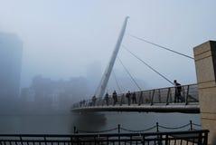 De Voetgangersbrug van de Kade van het zuiden in de Mist Royalty-vrije Stock Afbeeldingen