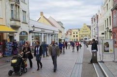 De voetgangerszone van Wismar Stock Fotografie