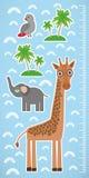 De vogel en de palmen van de girafpapegaai op blauwe achtergrondkinderenhoogte meten muursticker Vector Royalty-vrije Stock Fotografie