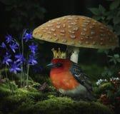 De vogel en de paddestoel van de fantasiekoning vector illustratie