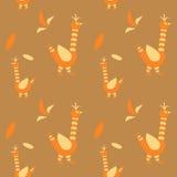 De vogel is gestileerd Vector naadloos patroon op oker Stock Afbeeldingen