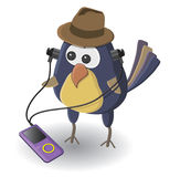 De vogel met de speler royalty-vrije illustratie