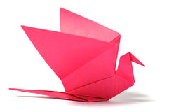 De vogel van de origami over wit Stock Afbeeldingen
