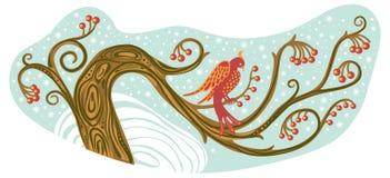 De vogel van de winter op een boom Royalty-vrije Stock Afbeelding