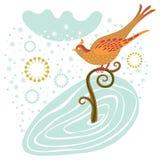 De vogel van de winter op een tak Stock Fotografie