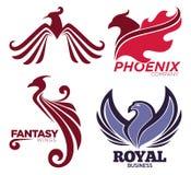 De vogel van Phoenix of van de fantasieadelaar embleemmalplaatjes die voor veiligheid of innovatiebedrijf worden geplaatst Stock Fotografie