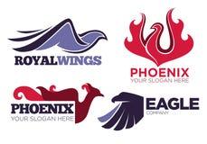De vogel van Phoenix of van de fantasieadelaar embleemmalplaatjes die voor veiligheid of innovatiebedrijf worden geplaatst Royalty-vrije Stock Foto