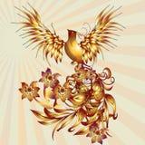 De vogel van Phoenix met bladeren vectorvoorraad royalty-vrije illustratie