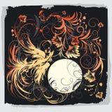 De vogel van Phoenix met bloemen royalty-vrije illustratie