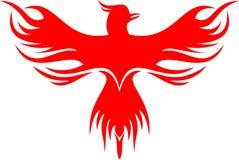 De vogel van Phoenix van het voorraadembleem het rode vliegen Royalty-vrije Stock Afbeeldingen