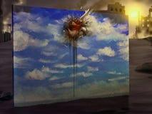 De vogel vloog - het Digitale Schilderen Stock Afbeelding