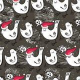 De vogels die van Kerstmis hymnesvakantie naadloze pa zingen Stock Afbeelding