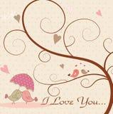 De vogels van de liefde en een boom Stock Afbeelding