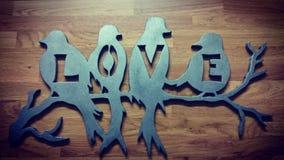 De vogels van de liefde en een boom Royalty-vrije Stock Afbeeldingen