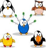De vogels van het beeldverhaal Stock Afbeeldingen