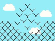 De vogels van het draadnetwerk het vliegen stock illustratie
