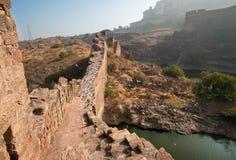 De vogels vliegen over de de baksteen Indische stad van de stadsmuur van Jodhpur, Rajasthan Stock Foto's