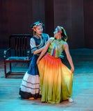 De volksdans van het dramaaxi sprong-Yi van de meisjes fluisteren-dans royalty-vrije stock fotografie