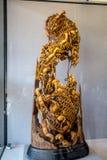 De volkskunst van het gebied van Guangdong Chaoshan, met zeldzaam houtsnijwerk om de garnalenkooi te vangen stock foto