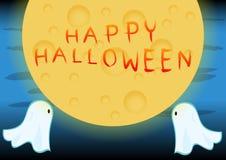 De Volle maan op Halloween-Nacht Stock Foto