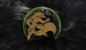 De Volle maan van het wolvengehuil Royalty-vrije Stock Foto's