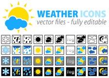 De volledig editable pictogrammen van het weer -   Royalty-vrije Stock Afbeelding