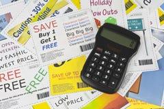 De volledig Valse Coupons van de Manier met Calculator Stock Foto's