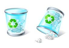 De volledige & ten val gebrachte pictogrammen van de afvalmand Stock Afbeelding