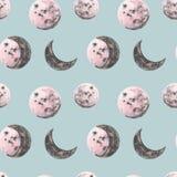 De volledige en halve illustraties van de maanwaterverf De maan faseert naadloos patroon Kosmosdruk in uitstekende stijl op blauw royalty-vrije illustratie