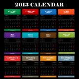 De volledige kalender van het kleuren 2013 jaar Royalty-vrije Stock Afbeeldingen