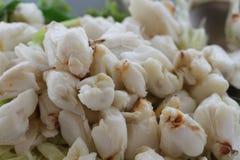 De volledige plaat van vers krabvlees van gekookte steenkrab verfraaide met plantaardig bijgerecht, Cheliped van de krab royalty-vrije stock afbeelding