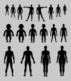De volledige reeks van het lengte voor, achter menselijke silhouet Royalty-vrije Stock Foto