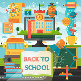De volta à bandeira da educação escolar com ícones do livro, do ônibus, da lâmpada e da educação Ilustração lisa do vetor Educaçã Imagens de Stock