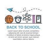 De volta à bandeira de escola com ícones da bola, do despertador, do tubo de ensaio, do smartphone e do avião de papel da cesta Fotos de Stock