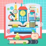 De volta à bandeira de escola com o livro, os ícones e a escola da educação bulding Ilustração lisa do vetor Conceito da educação Fotografia de Stock Royalty Free