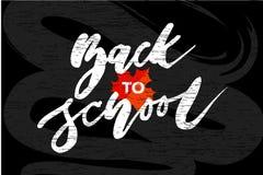 De volta à caligrafia Autumn Chalkboard da rotulação do vetor da frase da escola ilustração do vetor