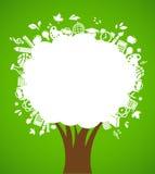De volta à escola - árvore com ícones da instrução Fotos de Stock Royalty Free