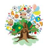 De volta à escola - árvore com ícones da instrução Imagem de Stock Royalty Free